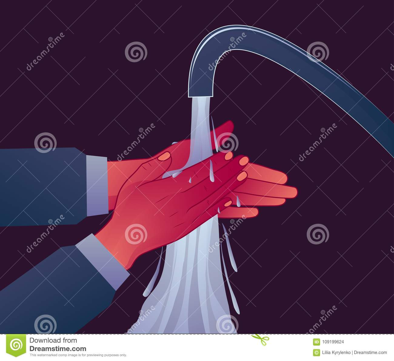 Personal hygiene, wash your hands under the pressure of water. Prevention of diseases. OCD symptom
