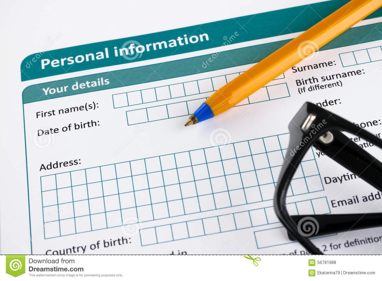 information personal form pen glasses ballpoint