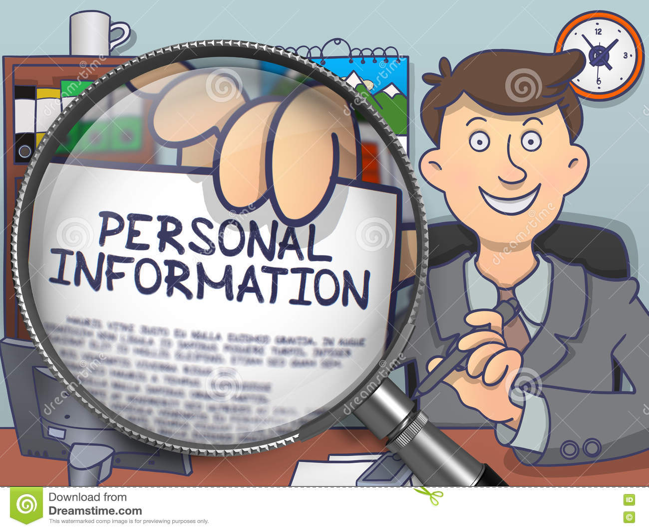 personal information clipart magnifier doodle through illustration text paper illustrations clip holds drawings preview business