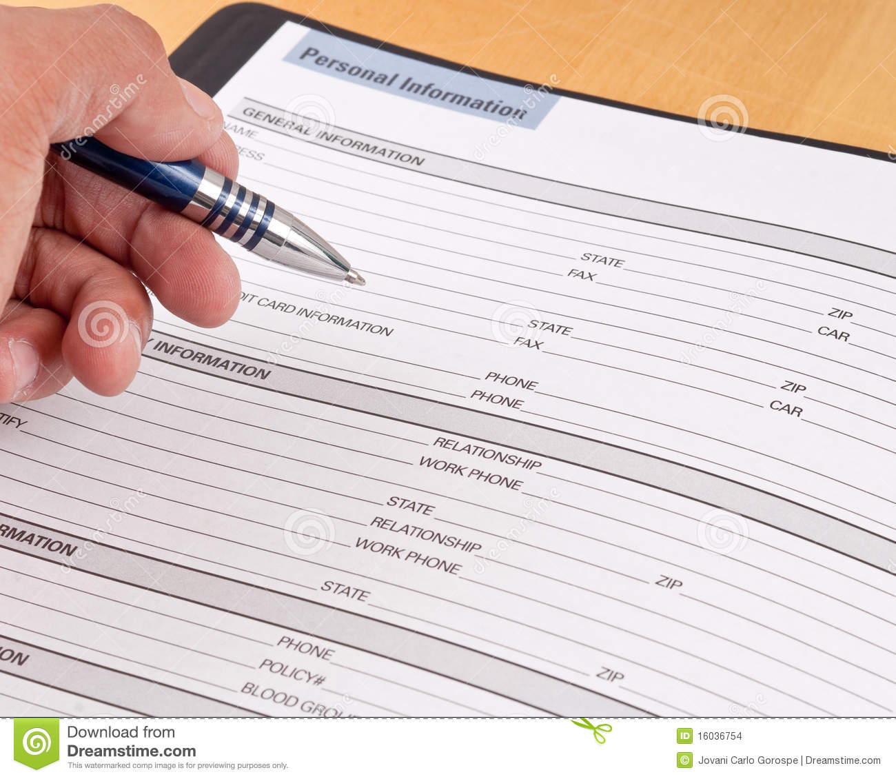 personal info sheets