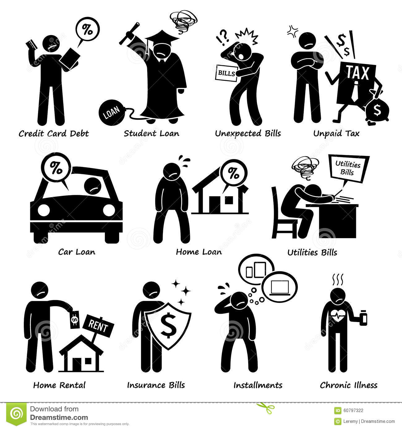 personal liabilities pictogram clipart stock vector   image 60797322