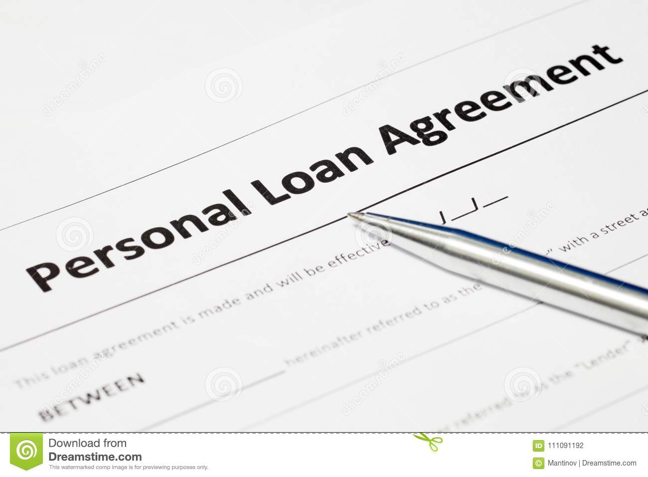 Personal Loan Agreement Stock Photo Image Of Loan Office 111091192