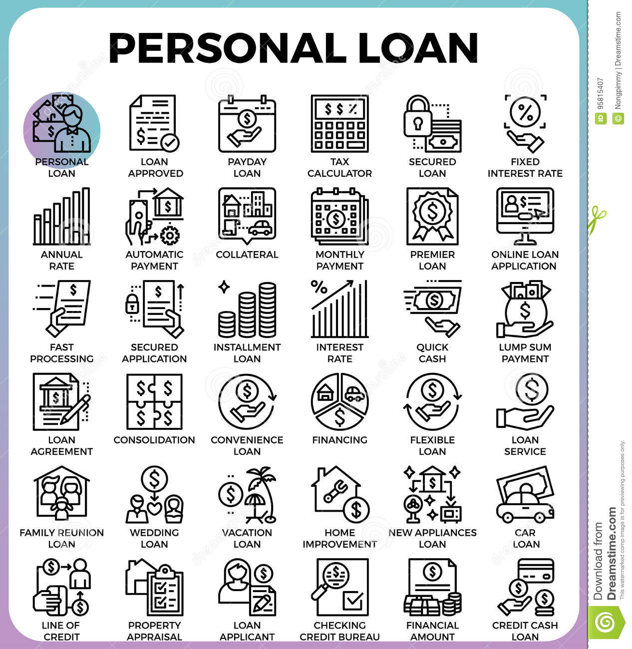 Personal loan icons stock vector. Illustration of ...