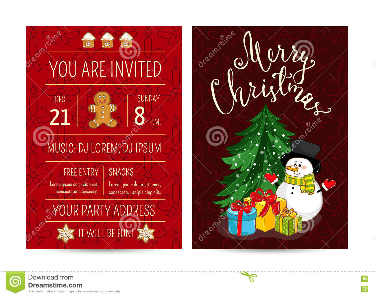 Cute Christmas Party.Personal Offer To Join Corporate Christmas Party Stock