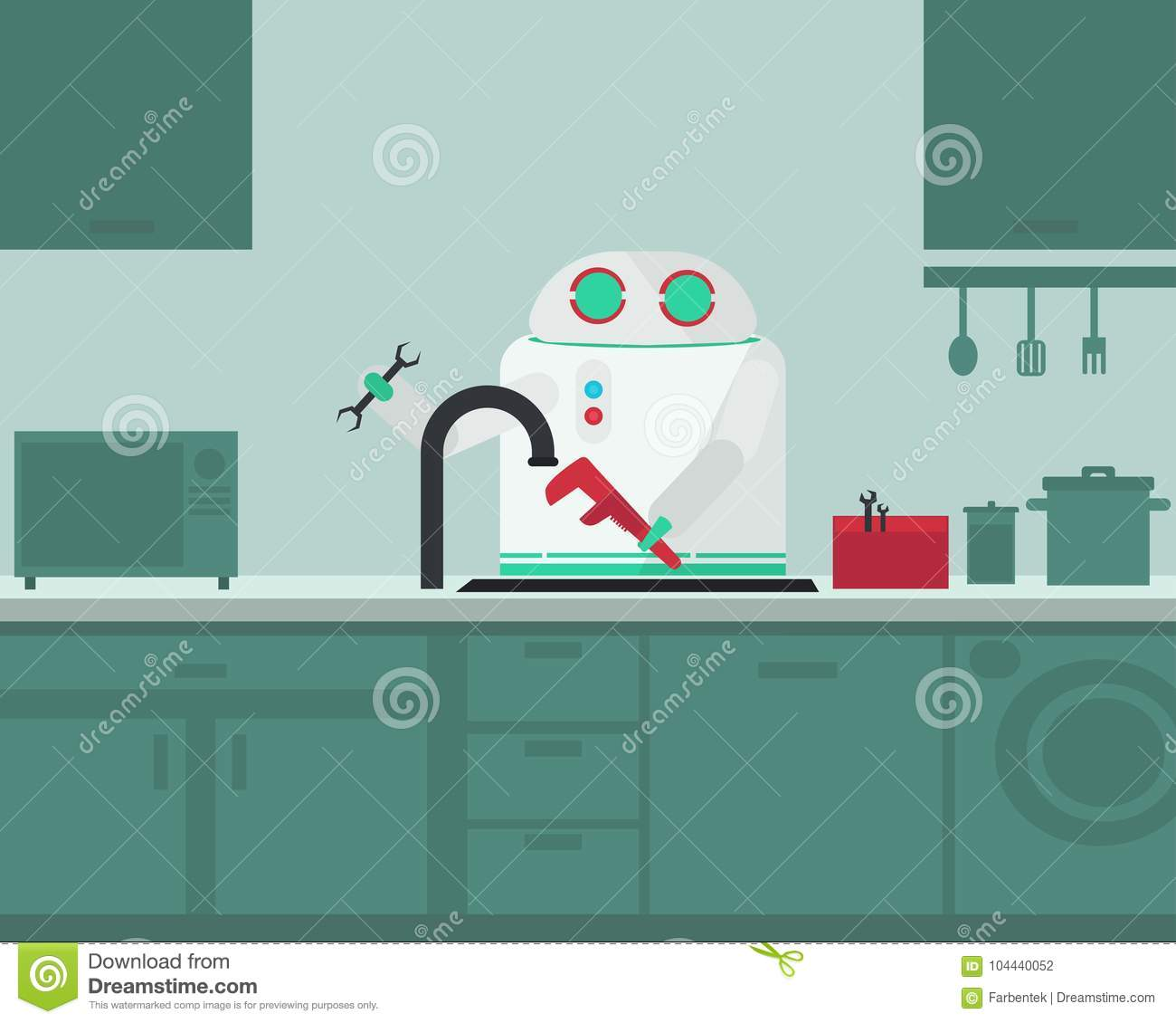 Domestic Robot Plumber Fixing Faucet In The Kitchen  Stock