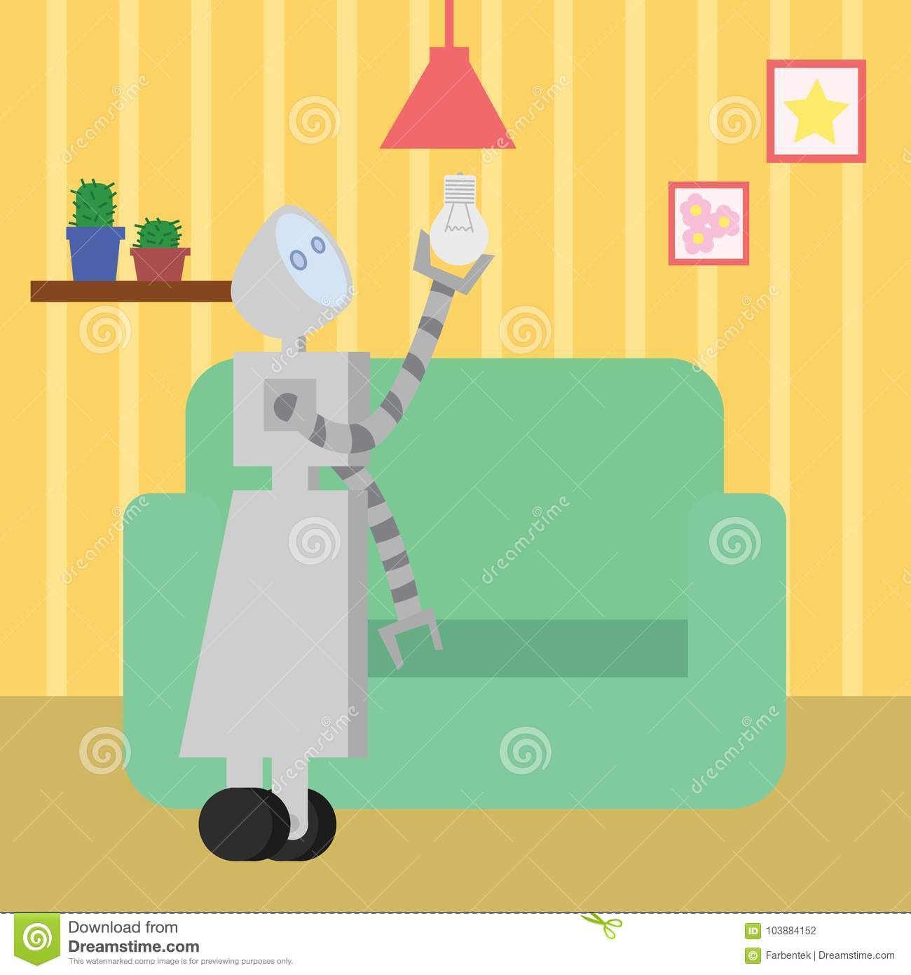 Domestic Robot Changing The Bulb In Living Room  Stock