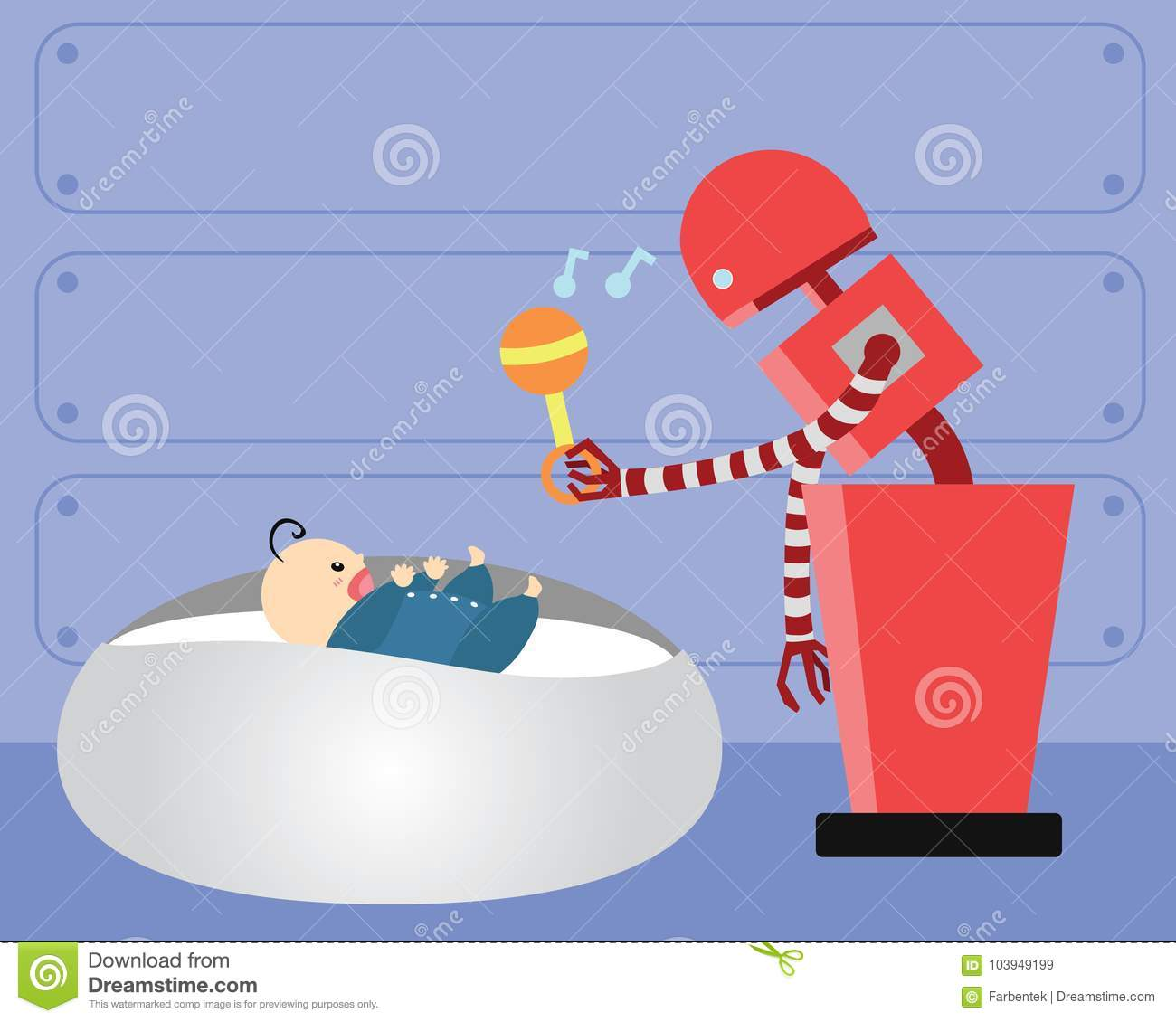Domestic Robot Playing With Happy Infant Baby  Stock Vector