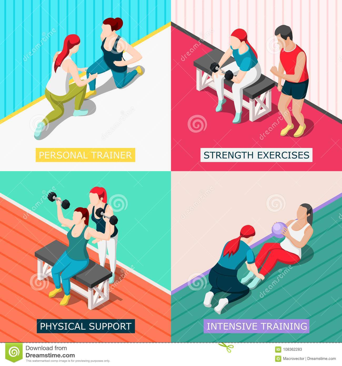 a0570b465b3 Personal sport trainers 2x2 design concept with physical support strength  exercises intensive training square icons isometric vector illustration