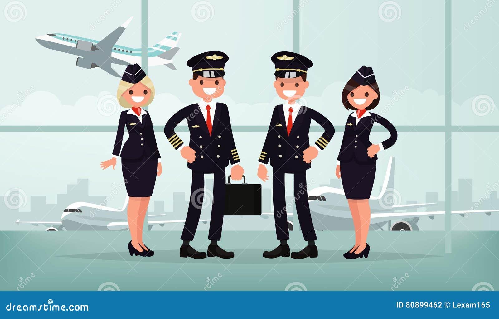 Personales de los aviones El equipo del aeroplano civil en los BU del aeropuerto
