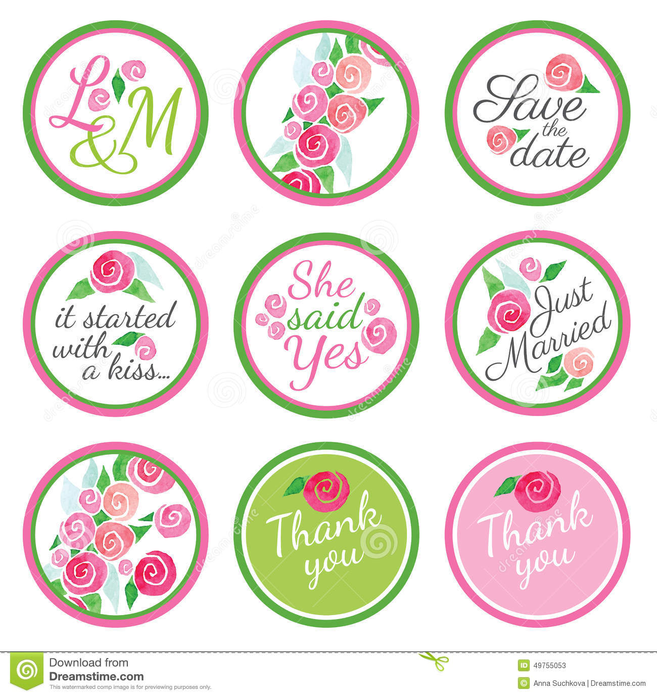 Personalized Candy Sticker Labels With Rose Stock Vector ...