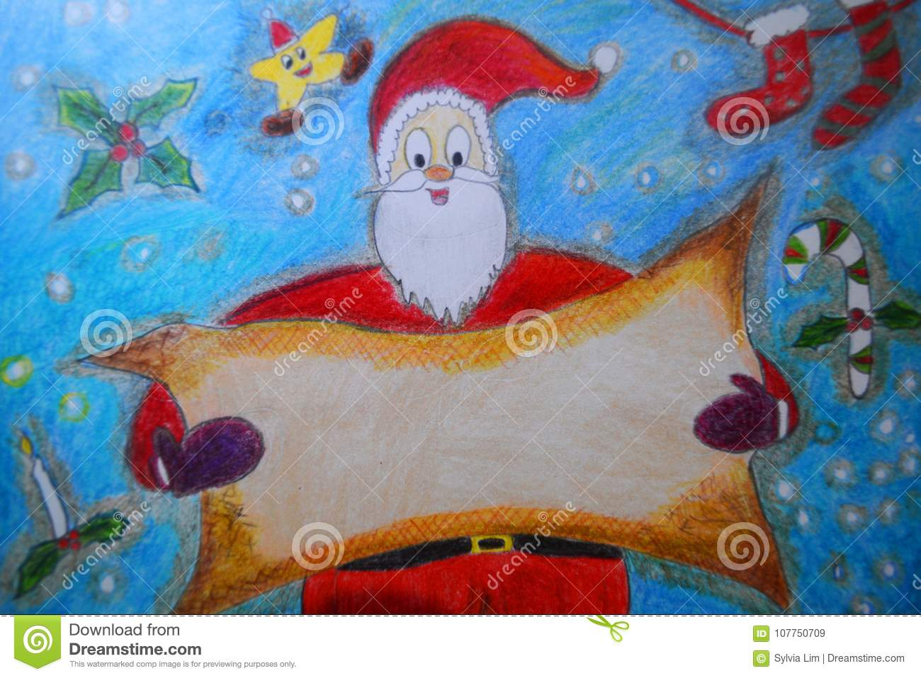 Santa Claus Holding A Blank Space For Christmas Greeting Stock ...