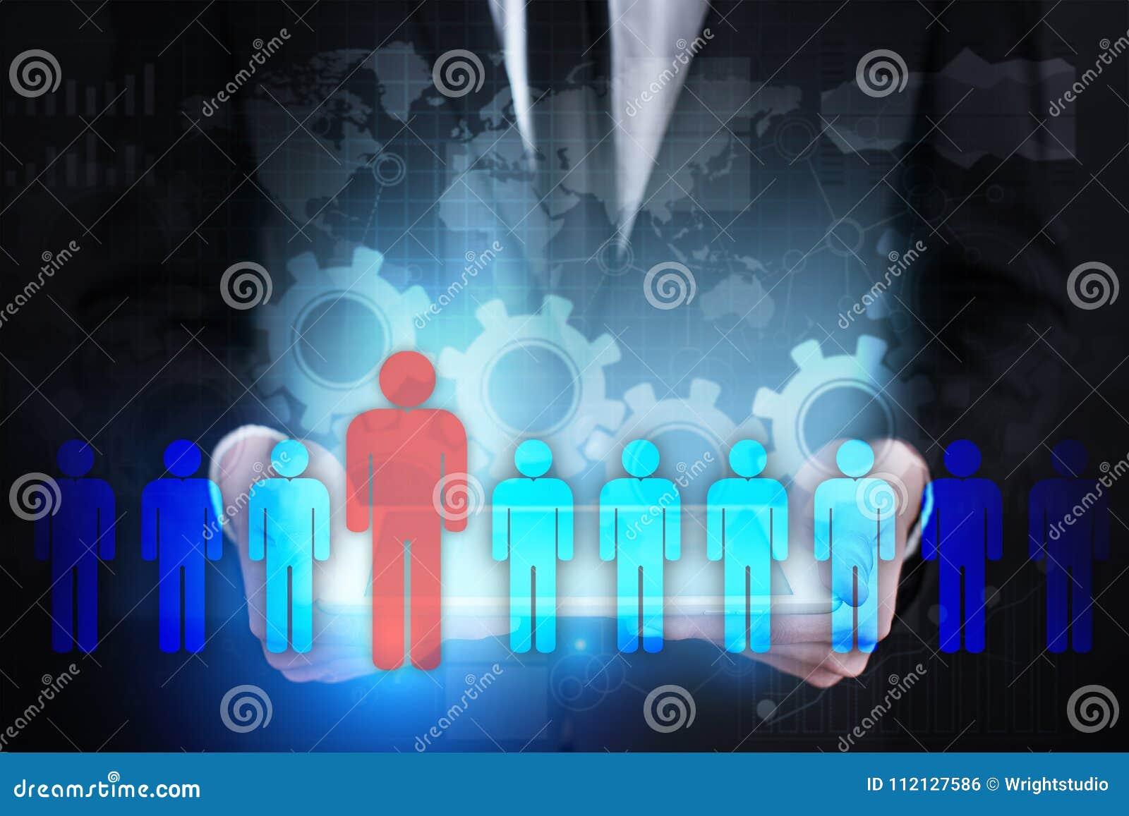 Personalresursledning, timme, rekrytering, ledarskap och teambuilding Affärs- och teknologibegrepp