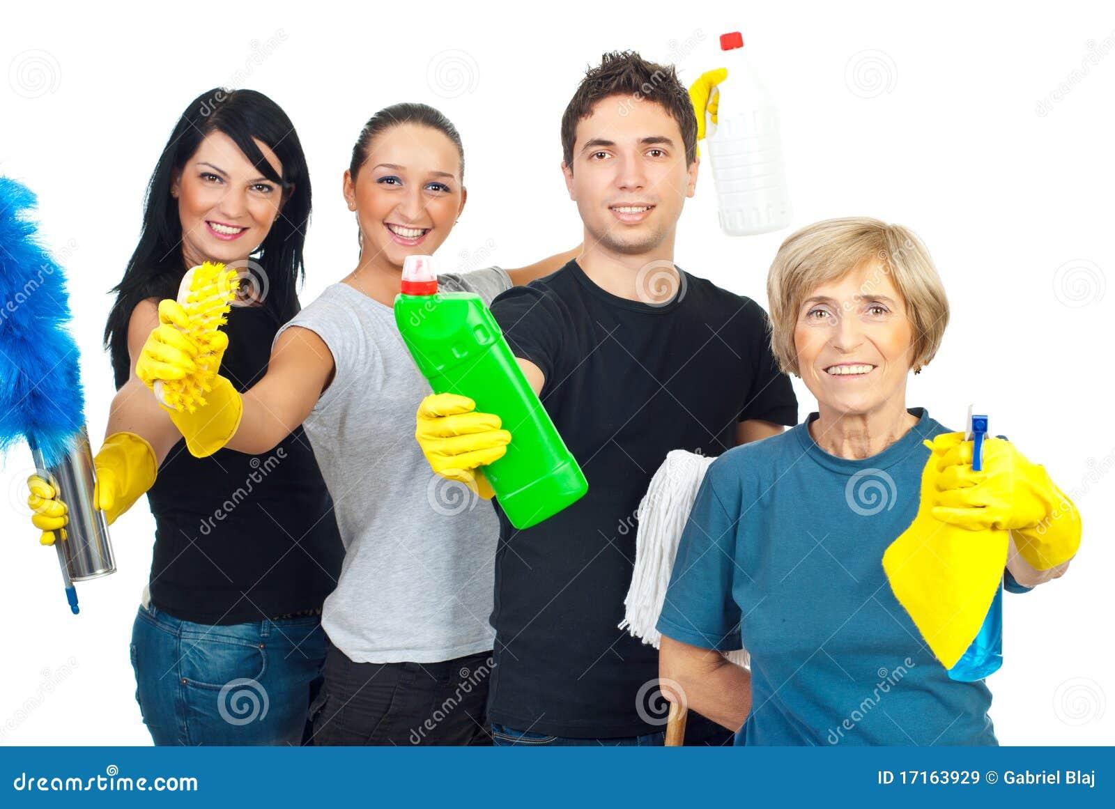 Personas alegres de los trabajadores del servicio de la limpieza - Casa de los espiritus alegres ...
