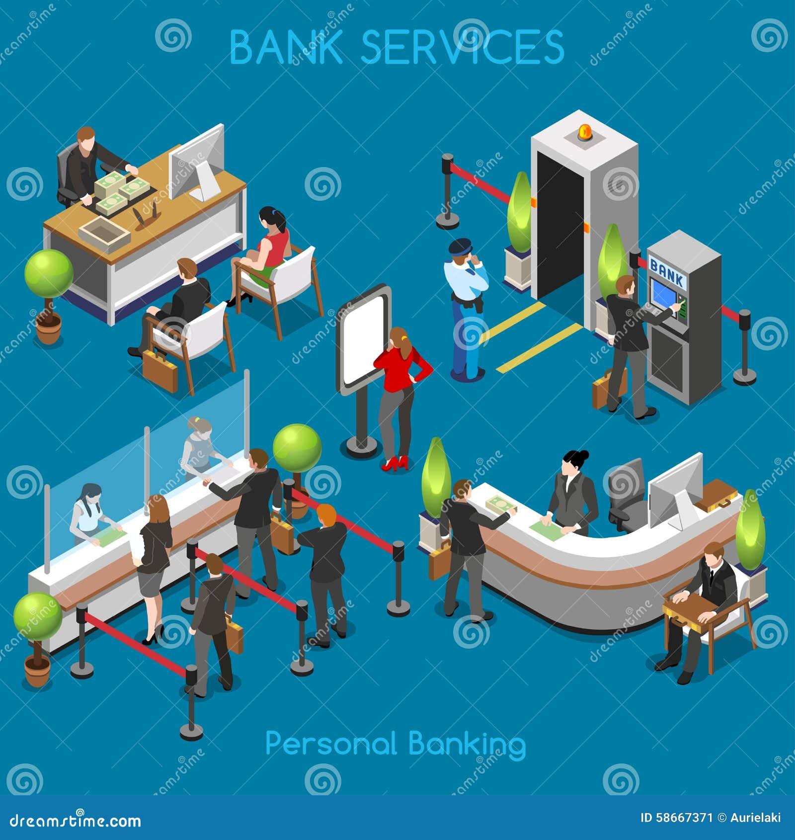 Personas de la oficina 02 del banco isométricas