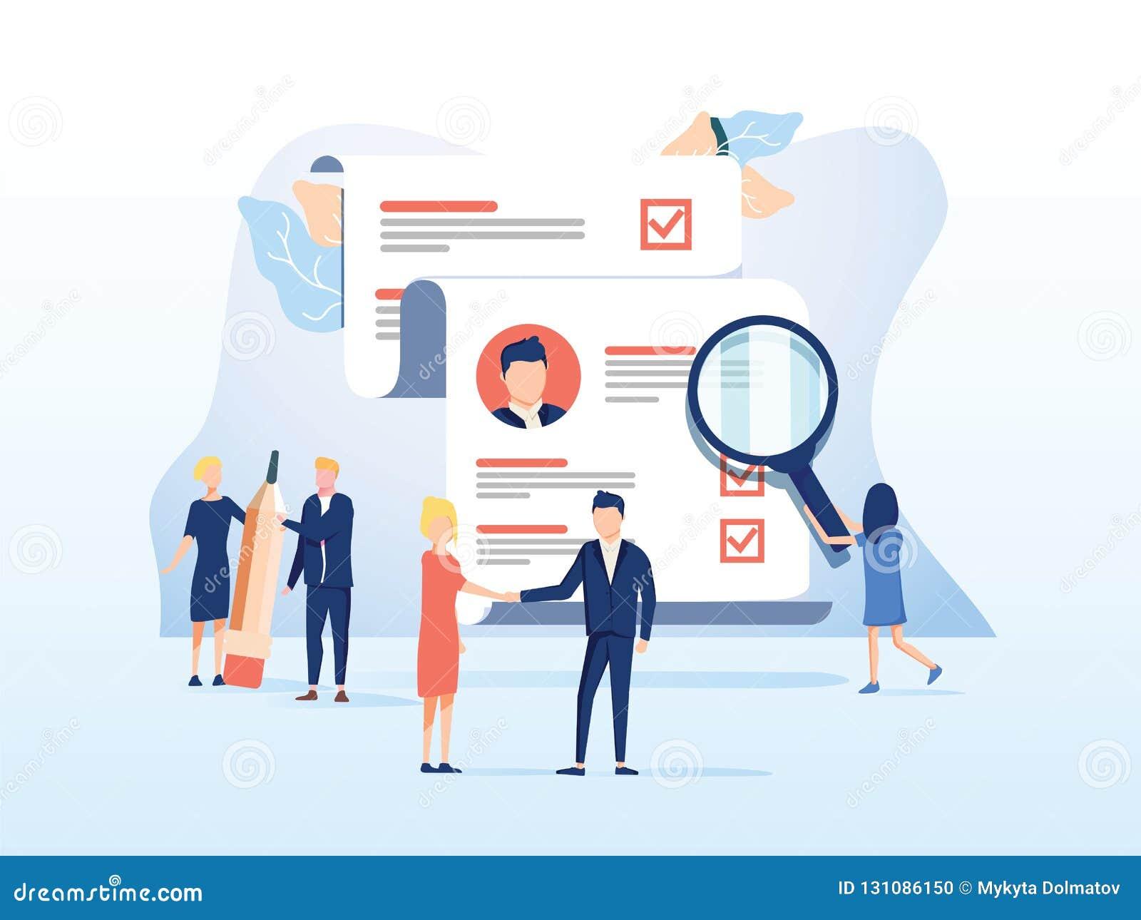 Personeel, Rekruteringsconcept voor webpagina, sociale media De vectorillustratiemensen selecteren een samenvatting voor een baan