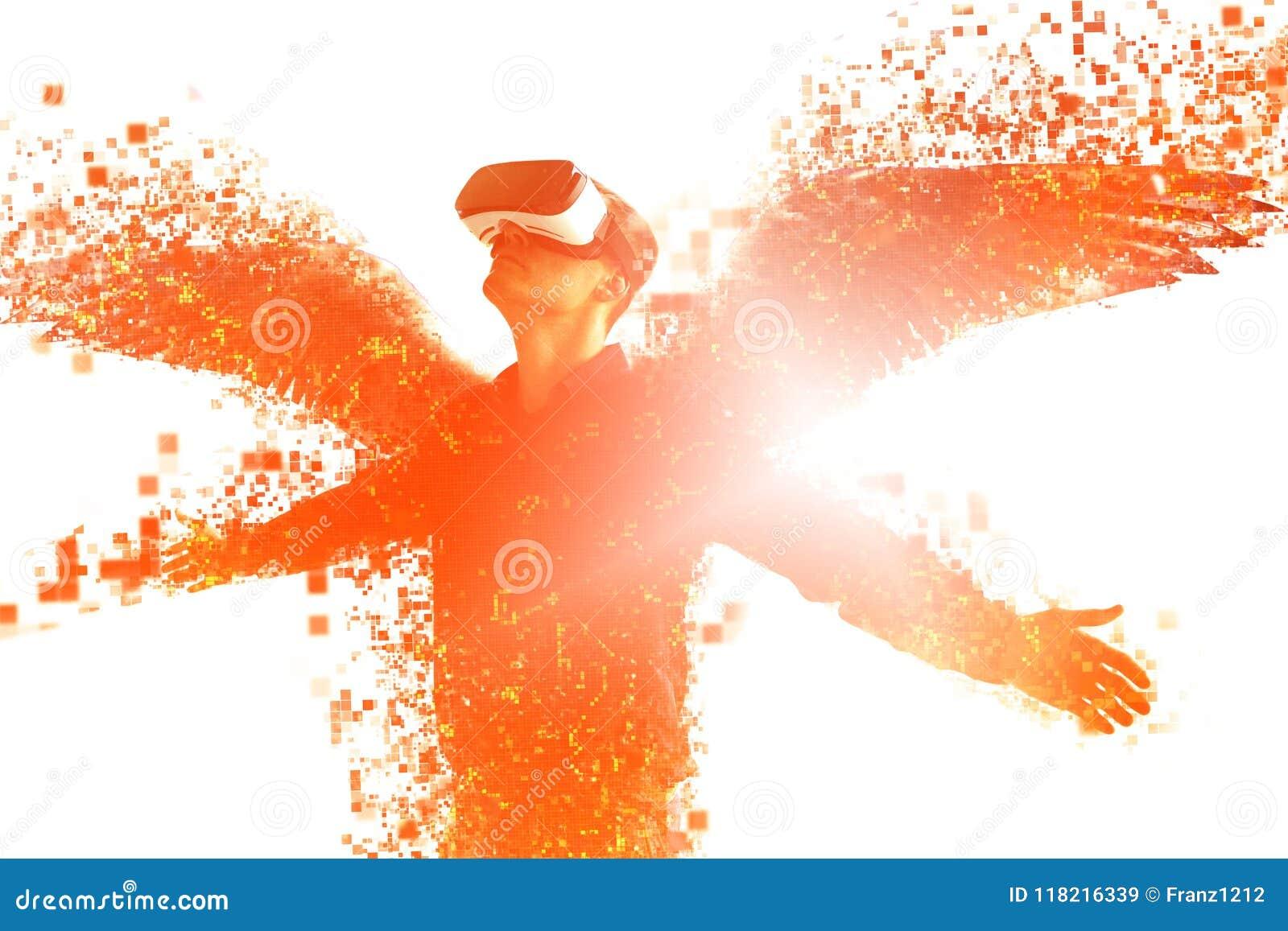 Personen i exponeringsglas av en virtuell verklighet med vingar sprids på PIXEL Begreppet av nya tekniker och