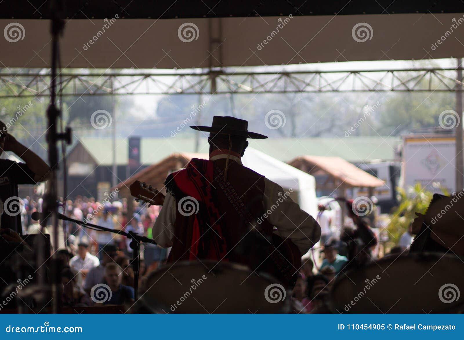 Personen på etappen för den kallade showen för den kulturella händelsen parkerar harmoni i staden av Porto Alegre