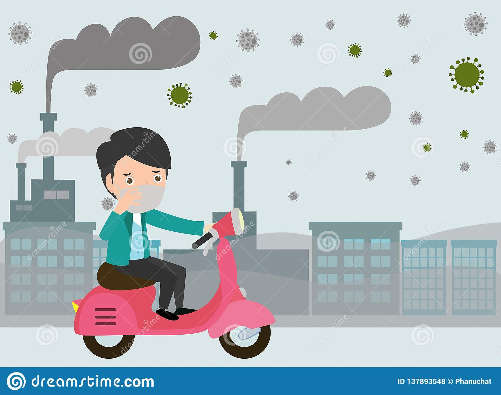 Personenvervoer op hun motoren , mens die masker dragen tegen smog Fijn stof, luchtvervuiling