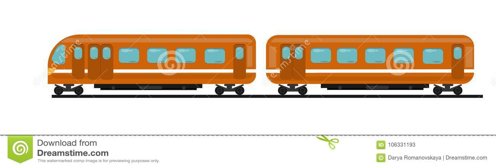 Personenzug der orange Farbe von zwei Autos auf Schienen