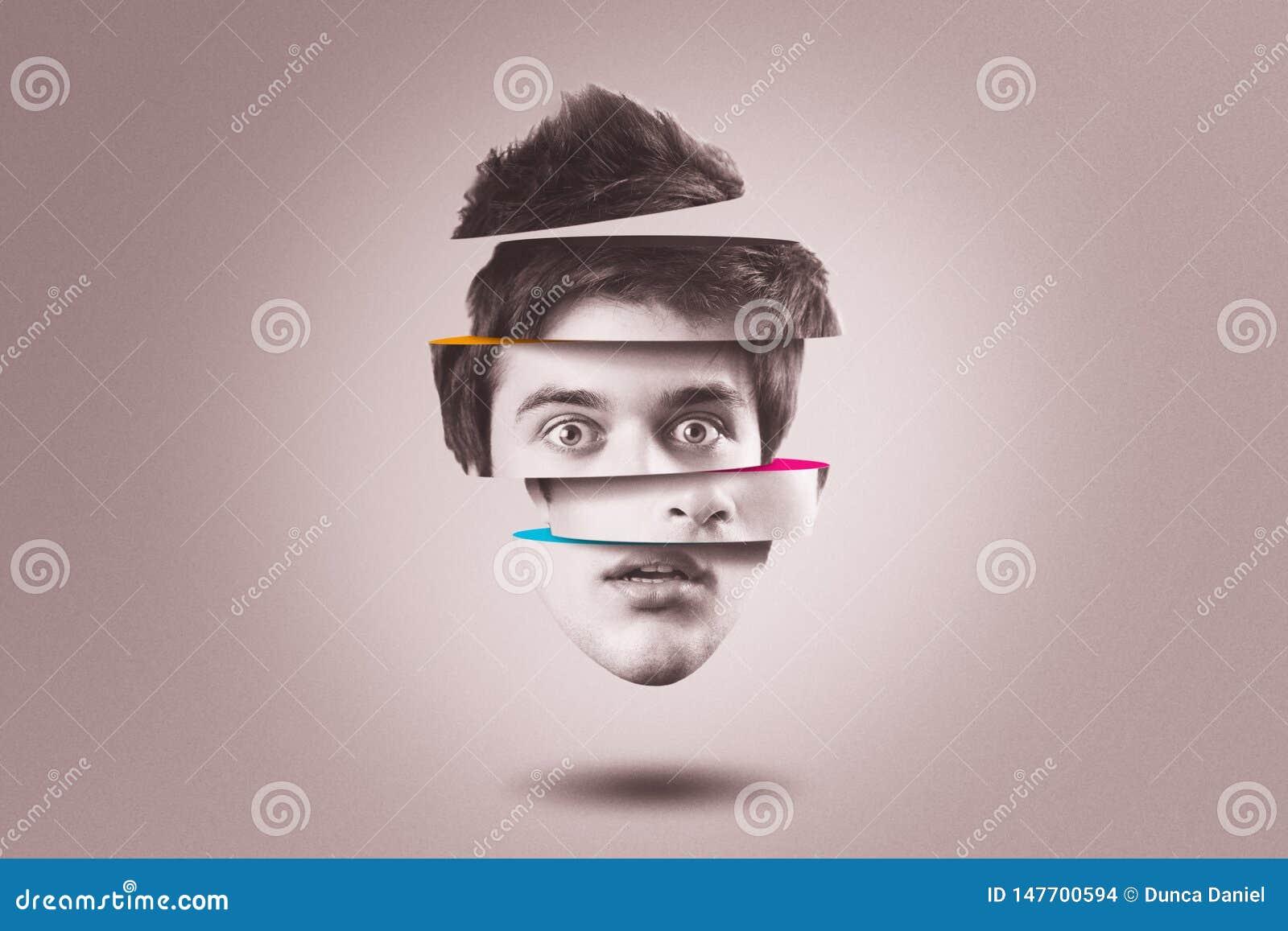 Personlighetsklyvningbegrepp Isolerat utklipphuvud av personen med mental hälsaoordning