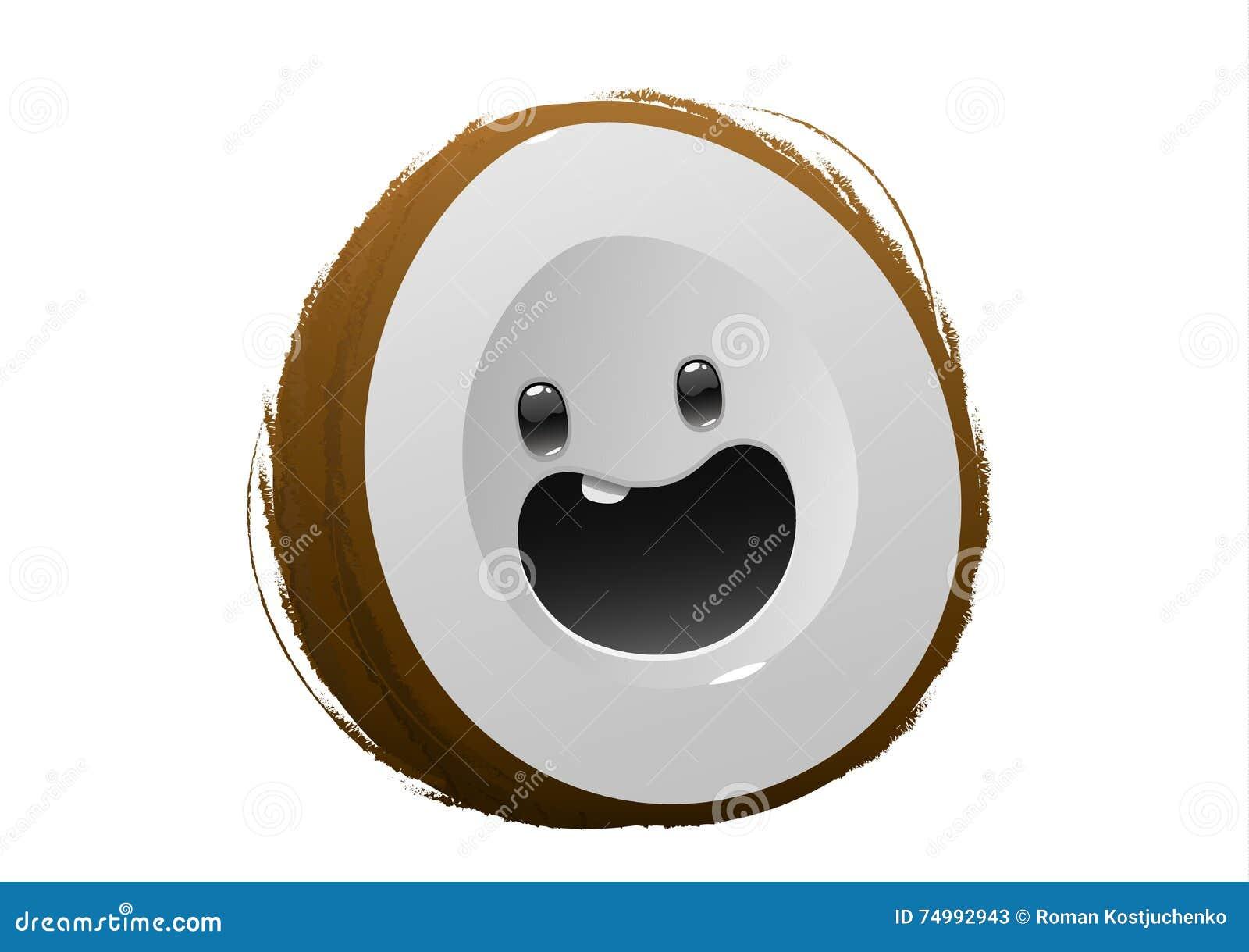 Personnage de dessin anim brun heureux de fruit de noix - Dessin noix de coco ...