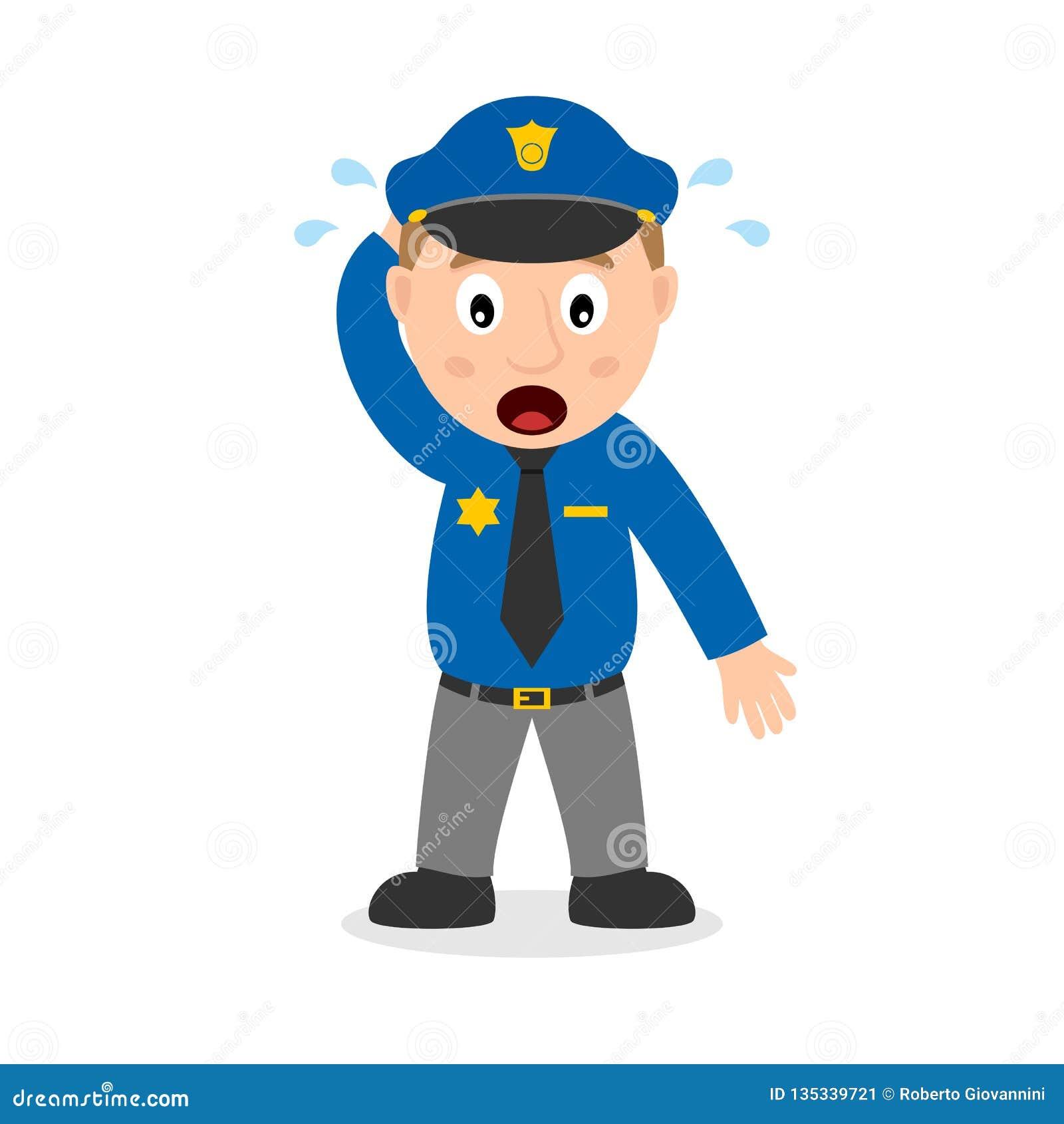 Personnage De Dessin Anime Confus De Policier Illustration De Vecteur Illustration Du Anime Confus 135339721