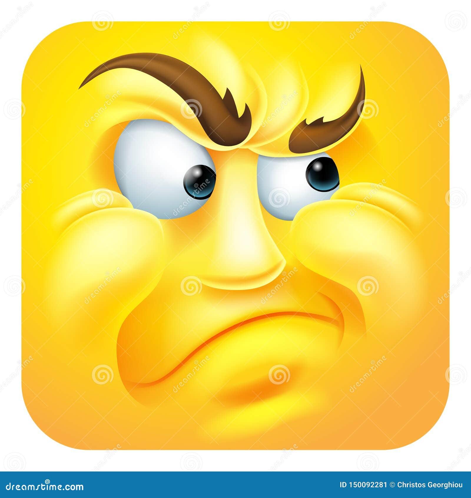 Personnage de dessin animé contrarié d icône d émoticône d Emoji