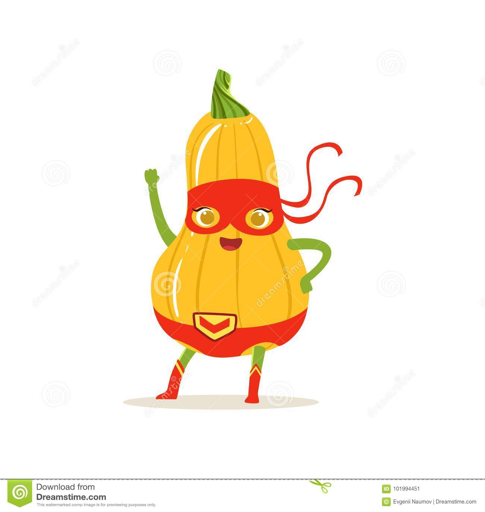 Personnage de dessin anim de courge de butternut de super h ros avec la main illustration de - Dessin courge ...