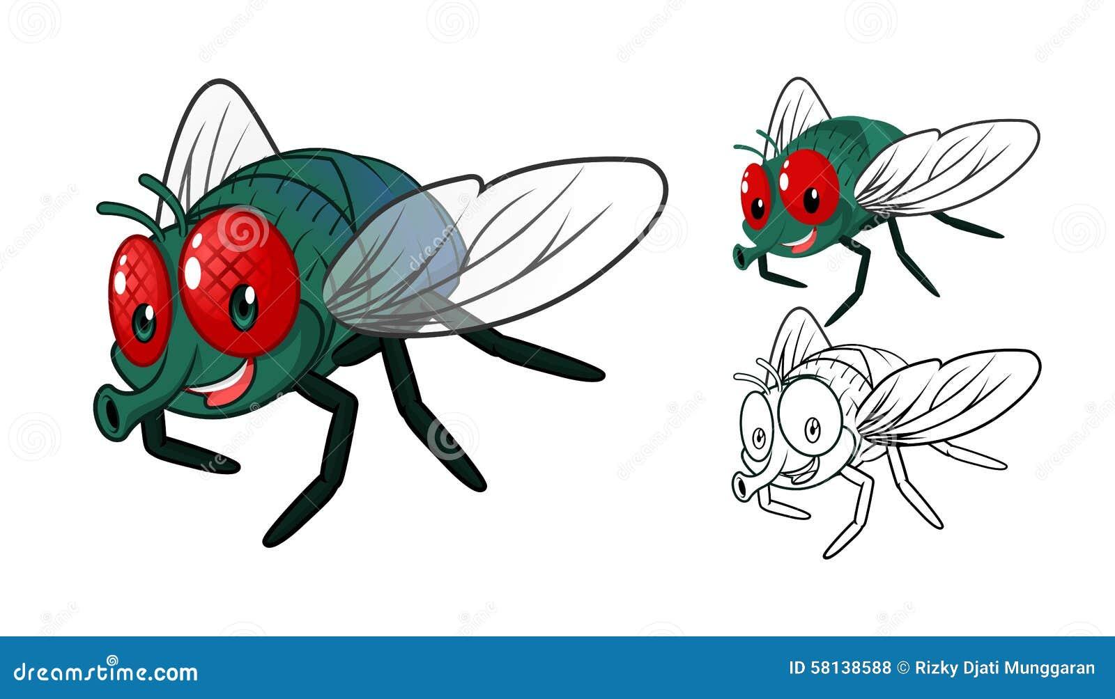 Personnage de dessin anim d taill de mouche avec la - Dessin de mouche ...