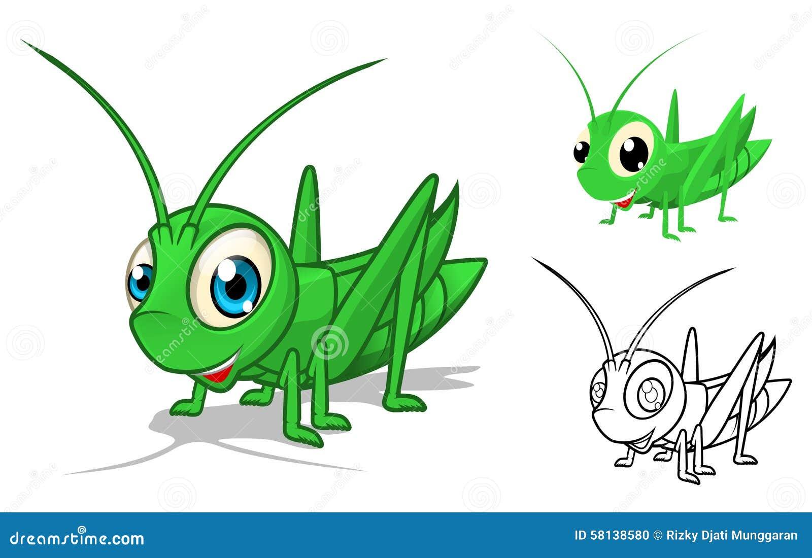 Personnage de dessin animé détaillé sauterelle avec la