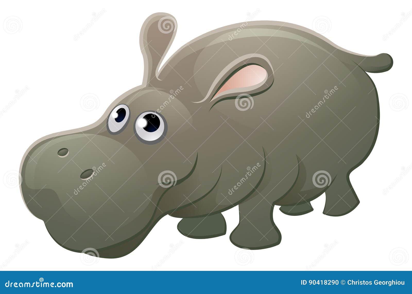 Personnage de dessin anim d 39 animal d 39 hippopotame - Dessin d hippopotame ...