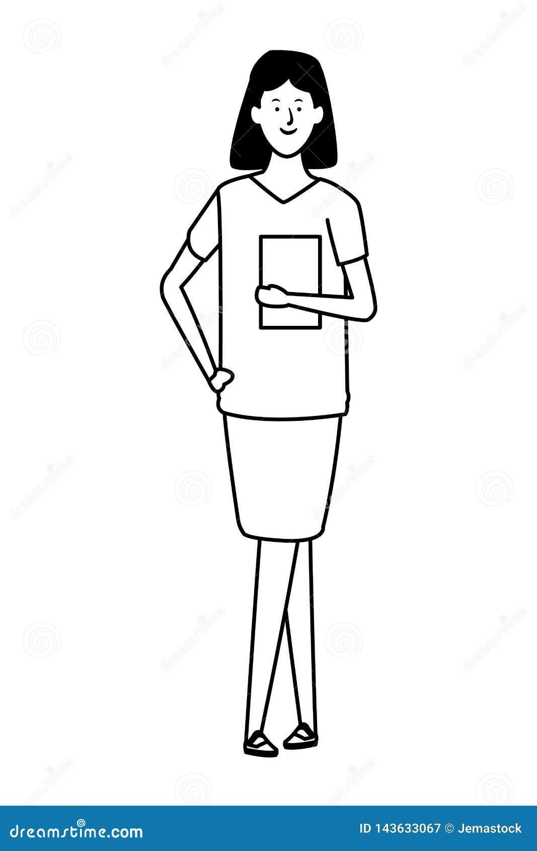 Personnage De Dessin Animé Davatar De Femme Daffaires Noir