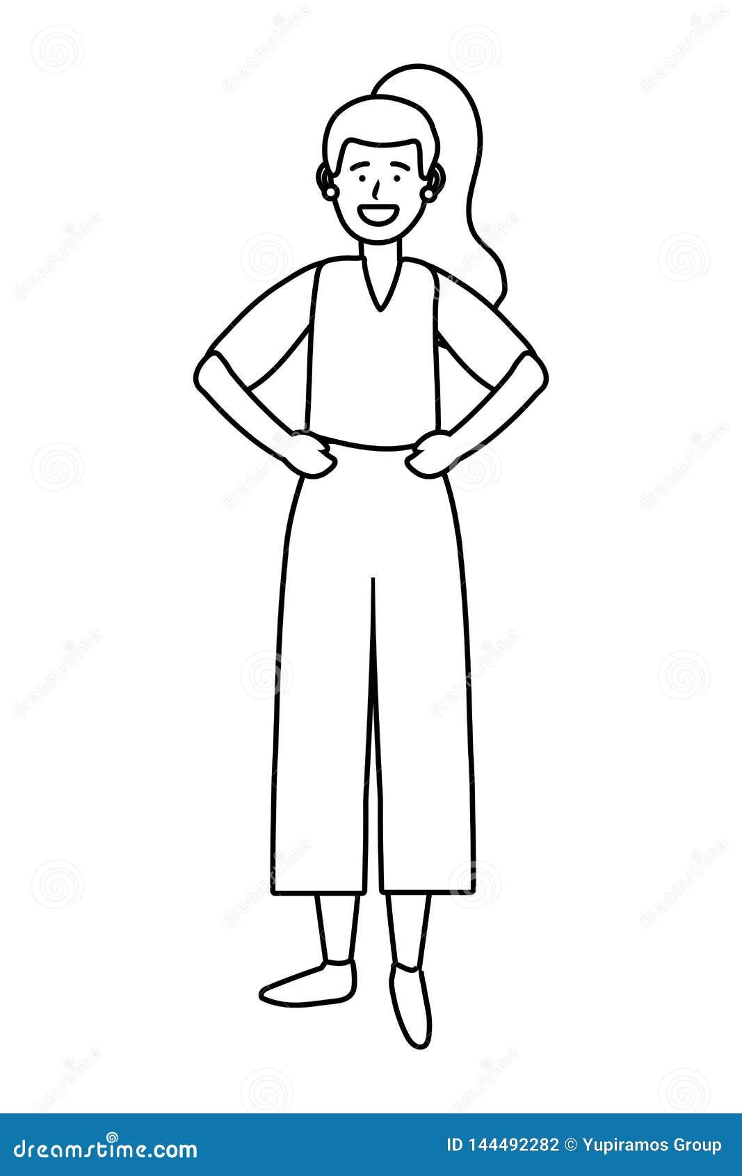 Personnage De Dessin Animé Davatar De Femme Noir Et Blanc