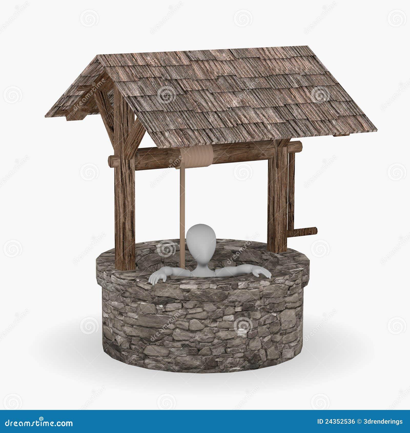 personnage de dessin anim dans le puits d 39 eau illustration stock image 24352536. Black Bedroom Furniture Sets. Home Design Ideas