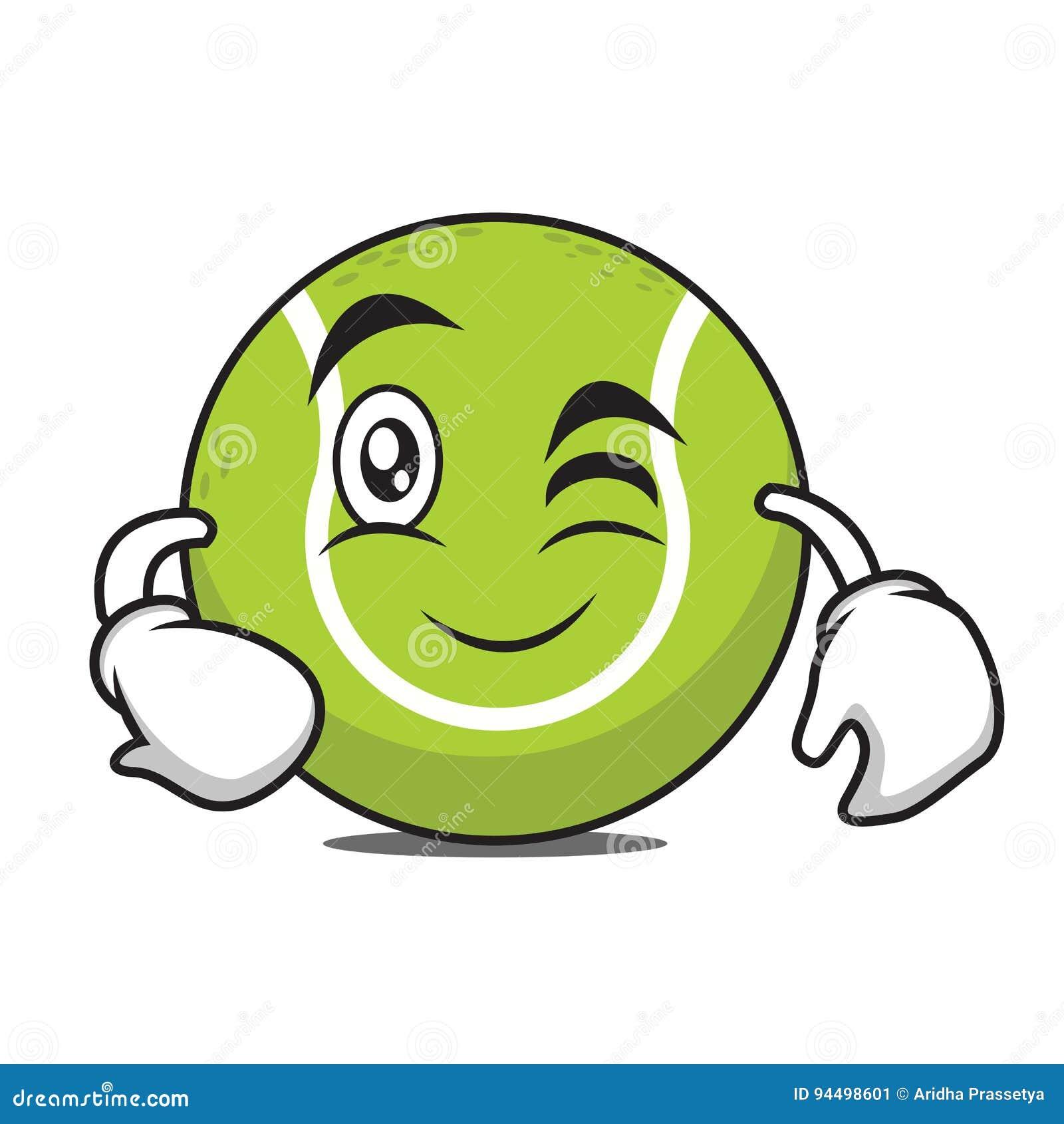Personnage De Dessin Anime De Balle De Tennis De Clin D Oeil Illustration De Vecteur Illustration Du Anime Tennis 94498601