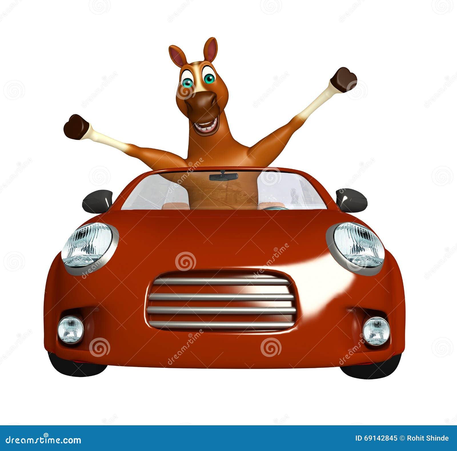 personnage de dessin anim de cheval d 39 amusement avec la voiture illustration stock. Black Bedroom Furniture Sets. Home Design Ideas
