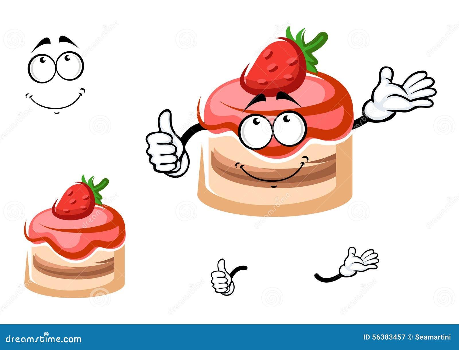 Personnage de dessin anim de dessert de fraise avec le - Dessert dessin ...