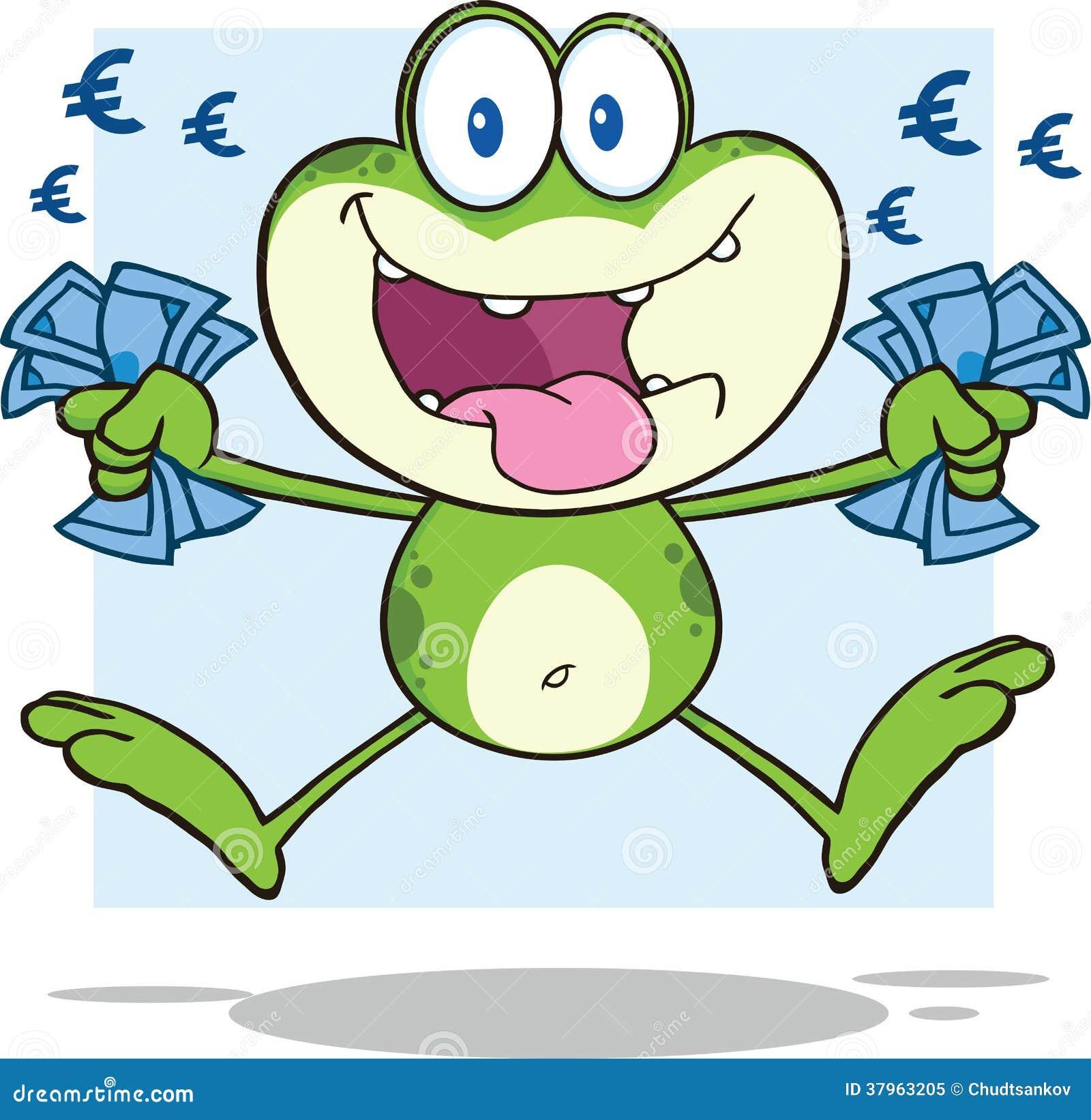 Personnage de dessin anim de grenouille verte sautant avec l 39 euro illustration stock - Dessin de grenouille verte ...