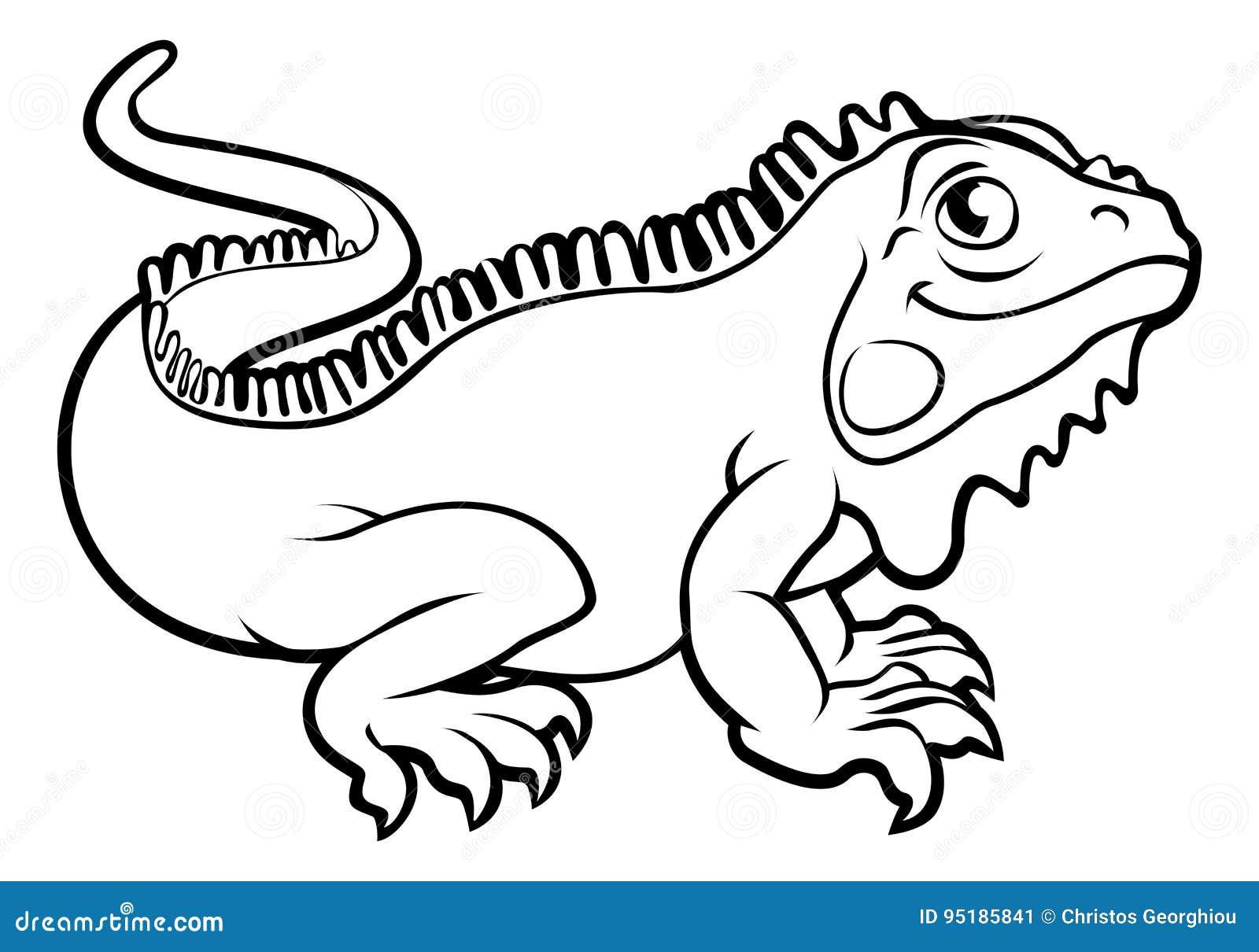 Personnage de dessin anim de l zard d 39 iguane illustration de vecteur illustration du mascotte - Coloriage iguane ...
