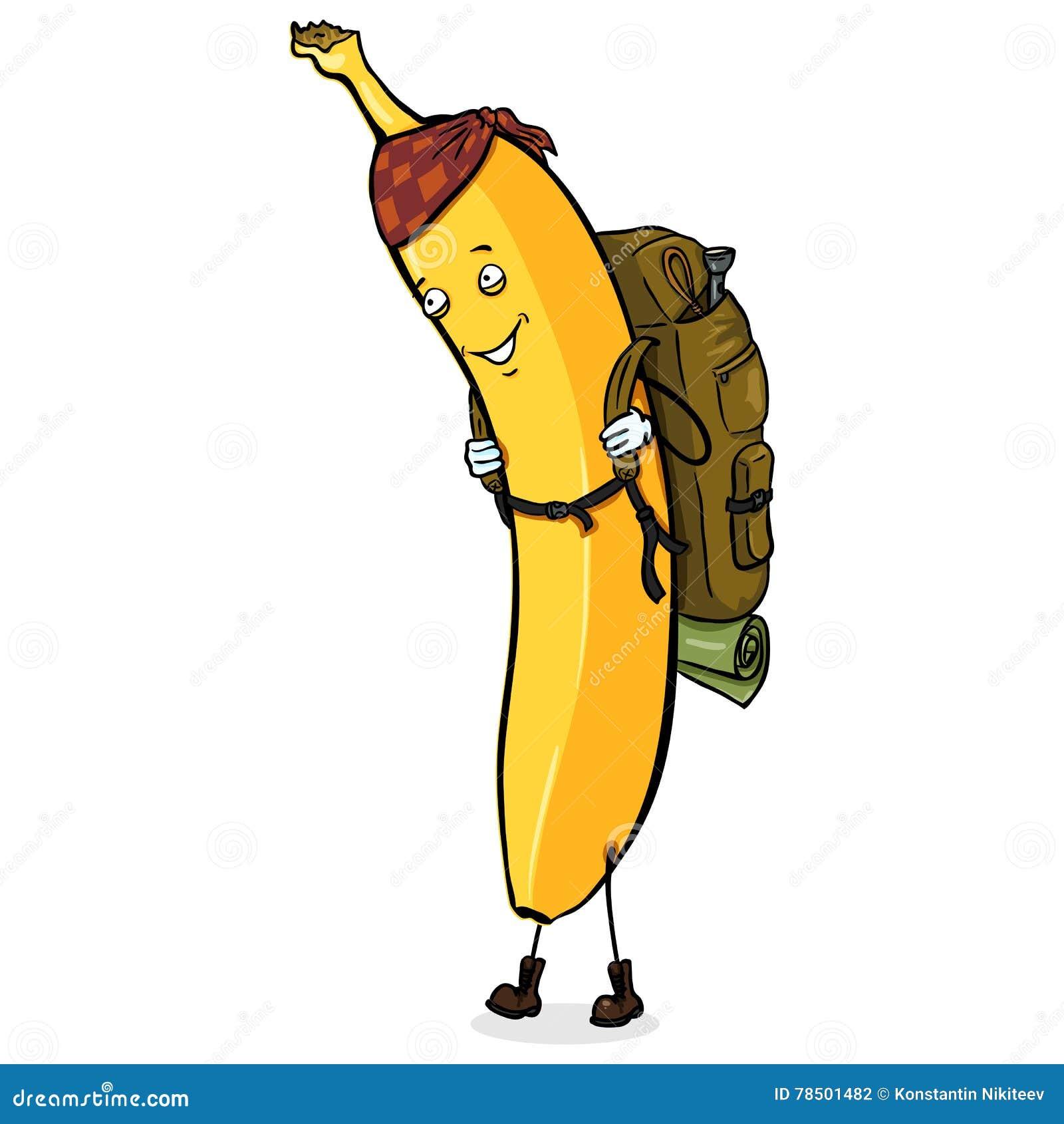 Personnage de dessin anim de vecteur banane de voyageur - Voyageur dessin ...