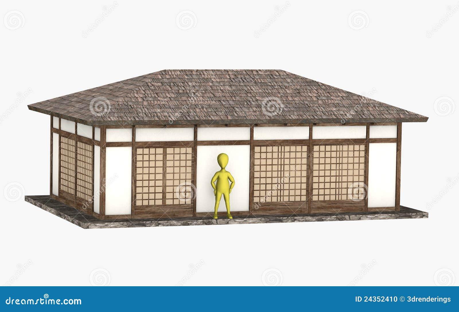 personnage de dessin anim devant maison japonaise photo stock image 24352410. Black Bedroom Furniture Sets. Home Design Ideas