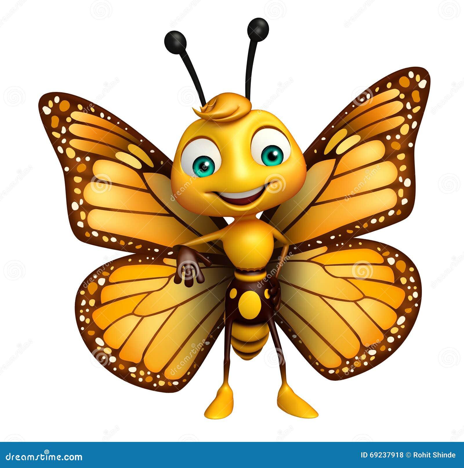 personnage de dessin anim drle de papillon insecte normal - Papillon Dessin