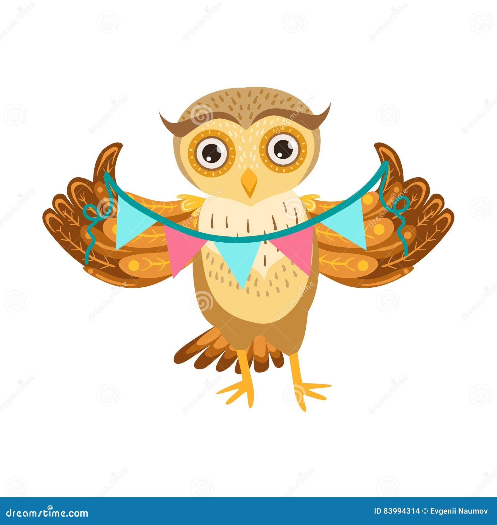 personnage de dessin anim emoji d owl holding paper garland cute avec forest bird showing human