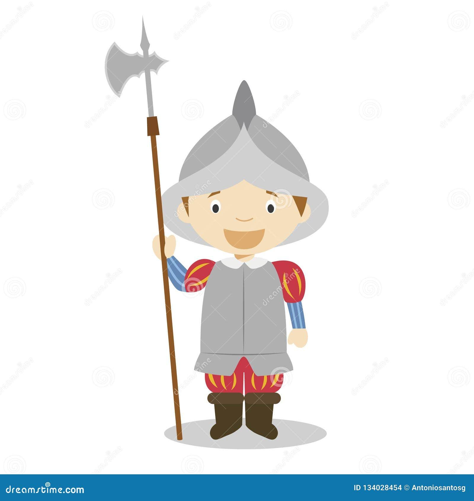 Personnage de dessin animé espagnol de soldat d empire Illustration de vecteur