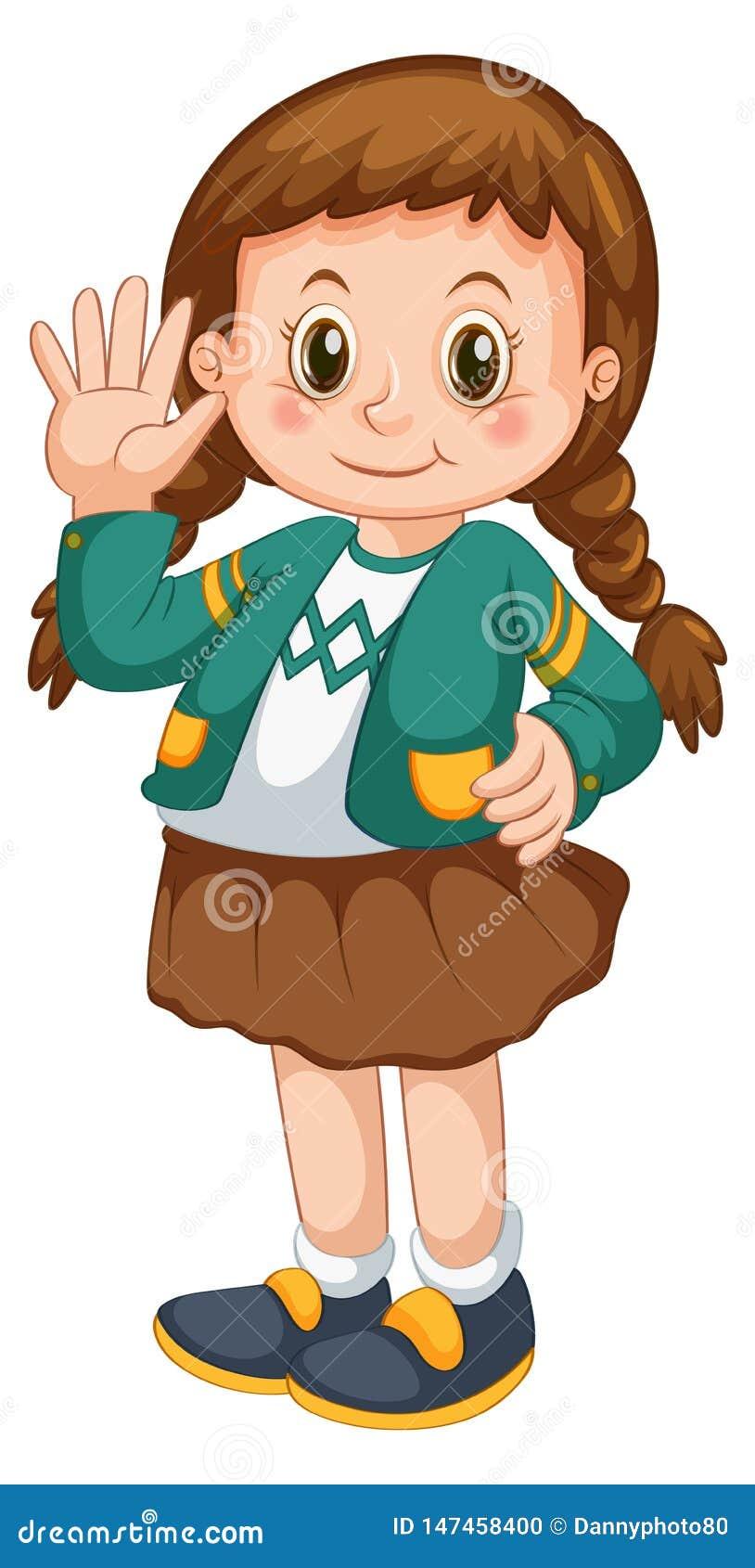 Personnage De Dessin Animé De Fille Avec Les Cheveux Tressés