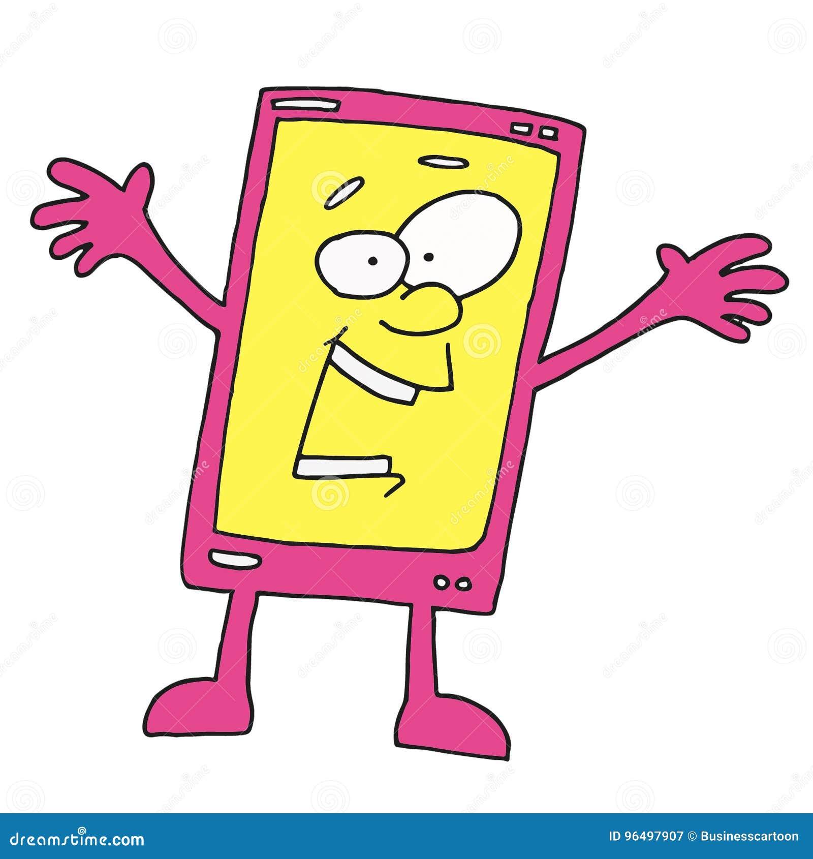 Dessin Panneau Attention personnage de dessin animé heureux de smartphone illustration stock