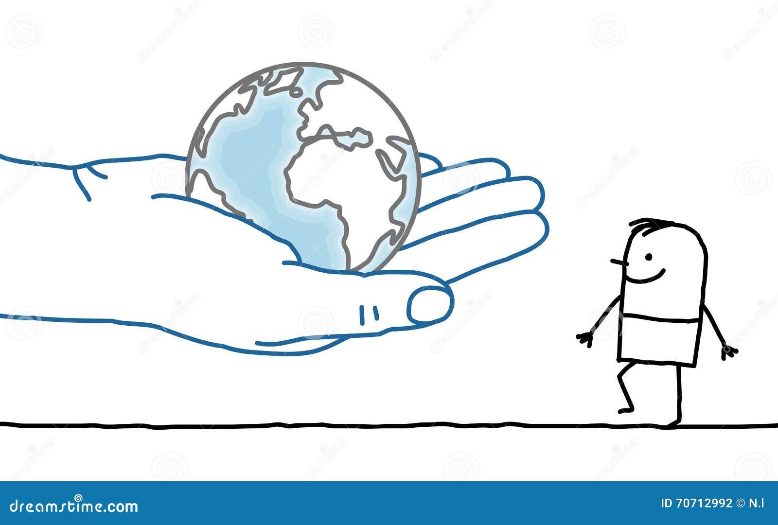 La Terre Et Homme Illustration De Vecteur