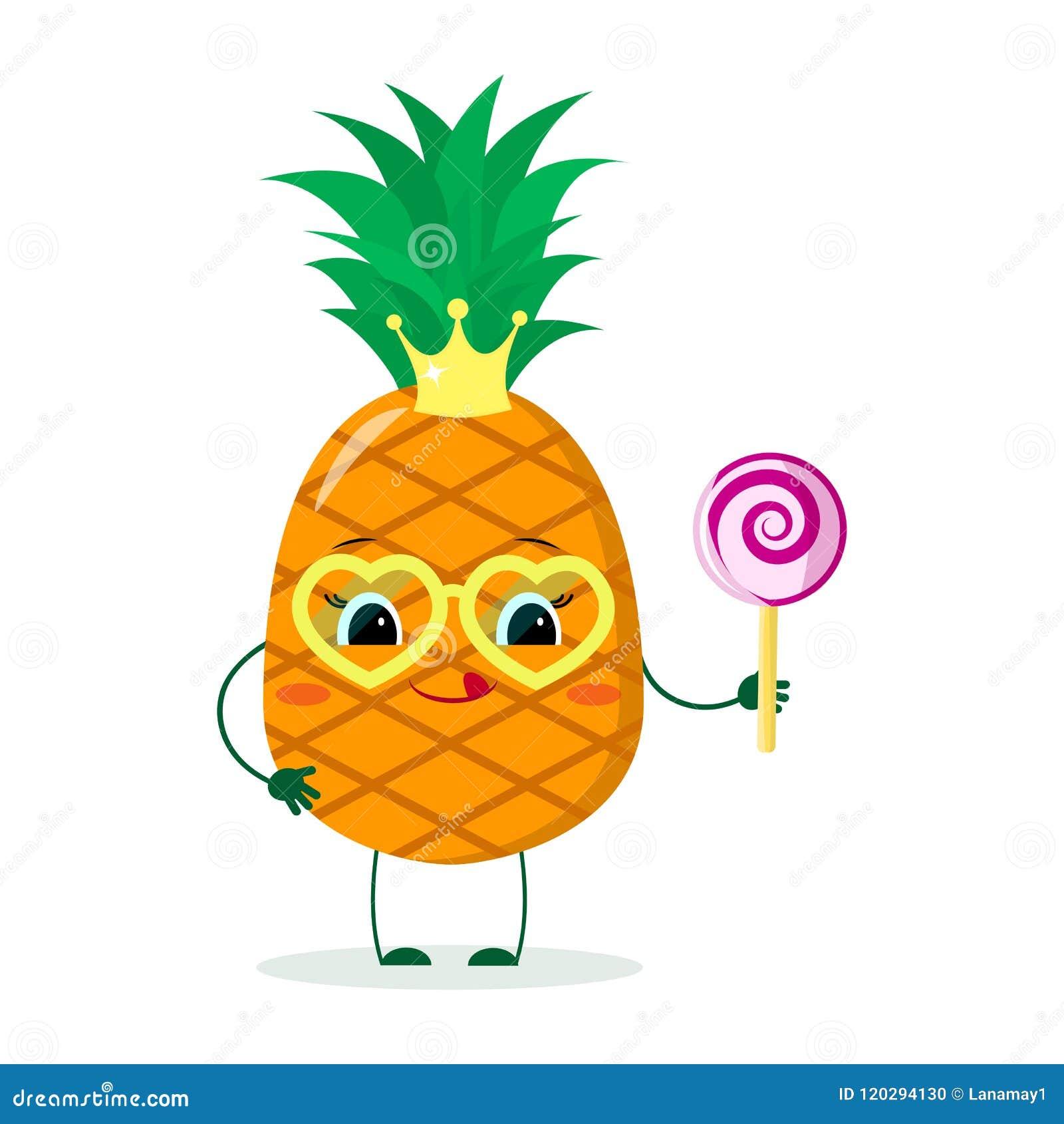 vendu dans le monde entier livraison gratuite meilleur site web Personnage De Dessin Animé Mignon D'ananas Avec La Couronne ...