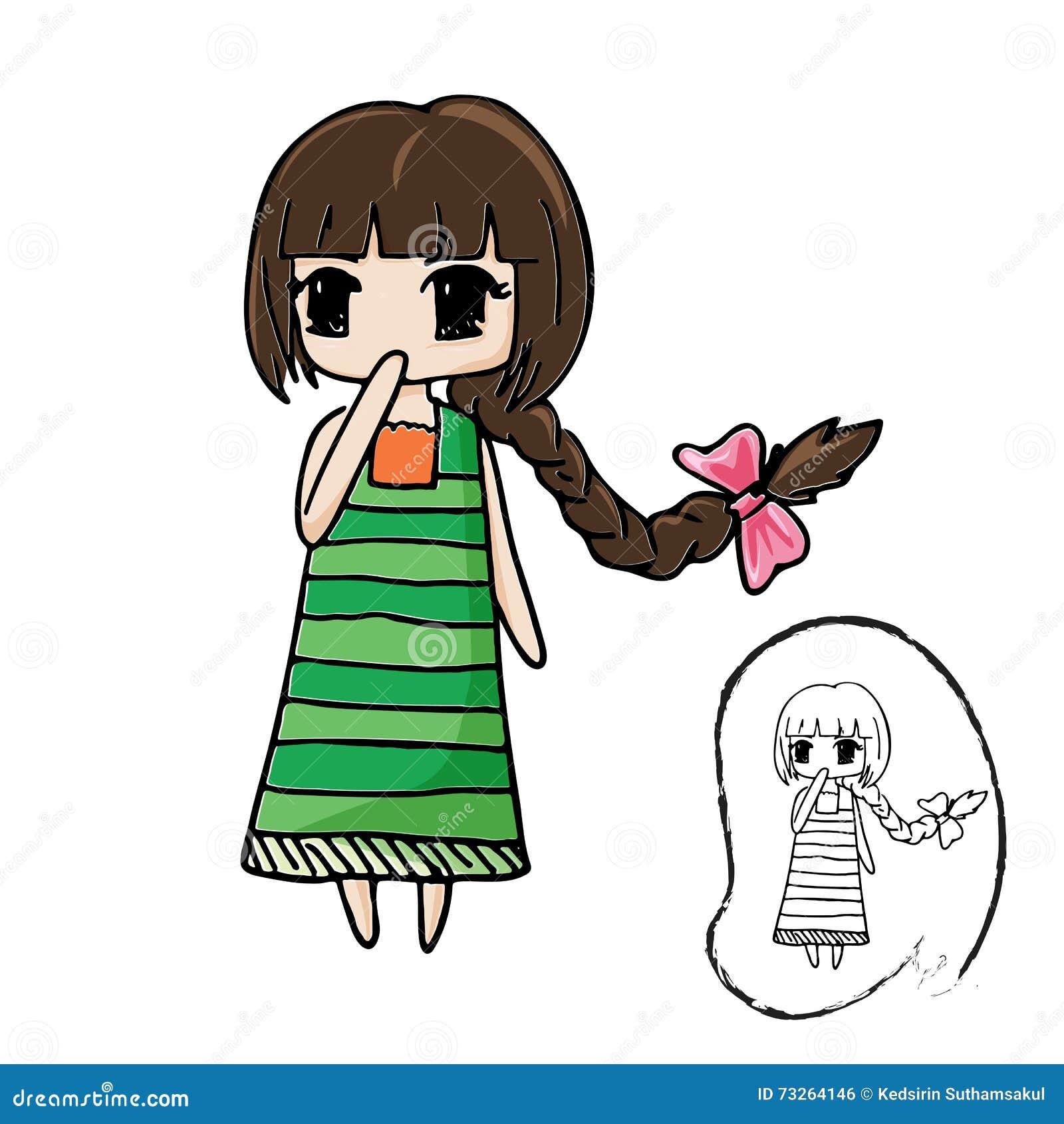Personnage De Dessin Anime Mignon De Fille Avec Dessin Au Trait Noir