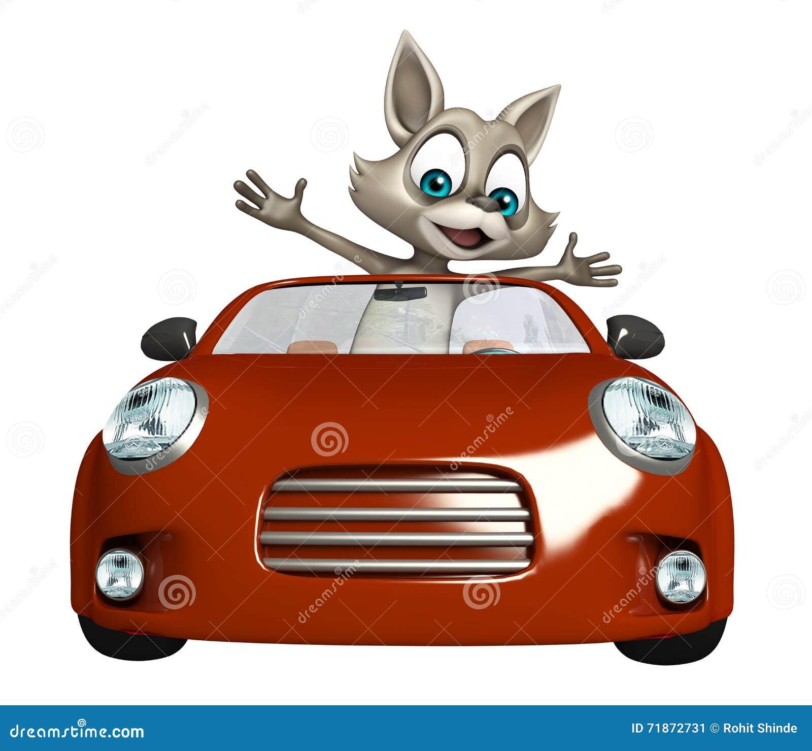 personnage de dessin anim mignon de raton laveur avec la voiture illustration stock. Black Bedroom Furniture Sets. Home Design Ideas